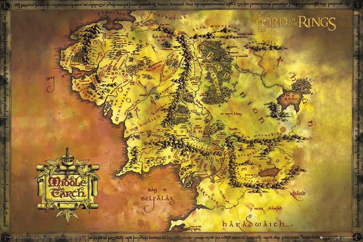 Władca Pierścieni Mapa Śródziemia - plakat