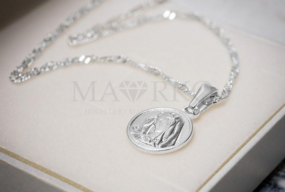 pamiątka chrztu - srebrny łańcuszek z medalikiem